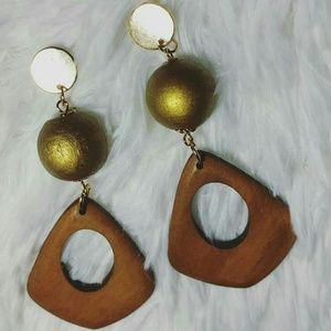 Golden Metallic Dipped Wooden Bead Drop Earrings